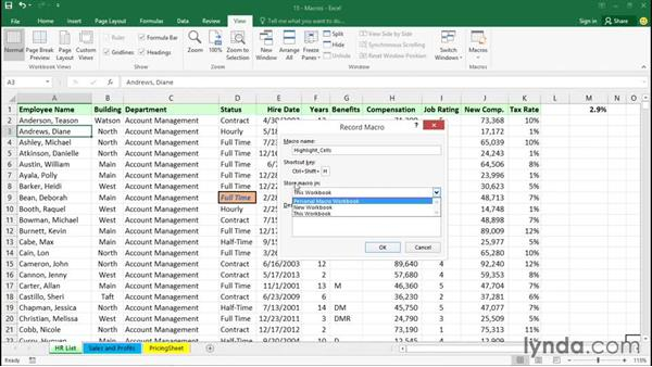 Creating a simple macro: Excel 2016 Essential Training