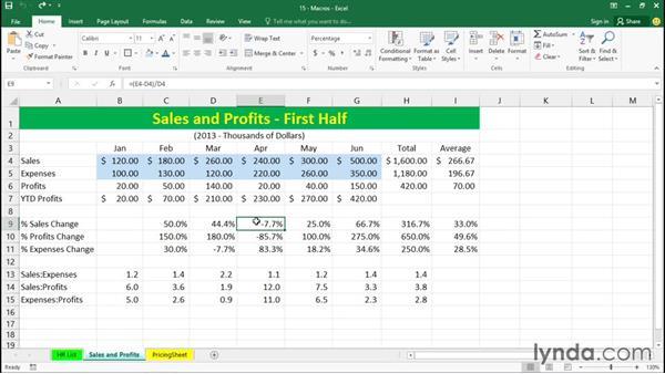 Running a macro: Excel 2016 Essential Training