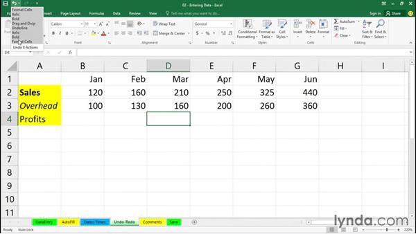 Using Undo and Redo: Office 365: Excel Essential Training