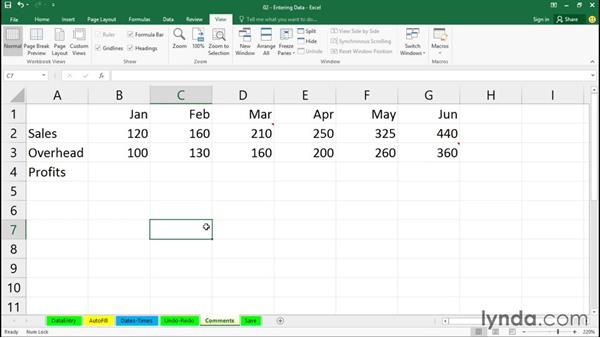 Adding comments: Office 365: Excel Essential Training