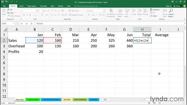 Creating simple formulas: Office 365: Excel Essential Training