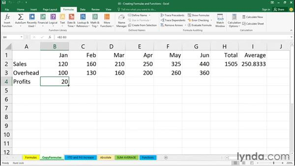Copying a formula into adjacent cells: Office 365: Excel Essential Training