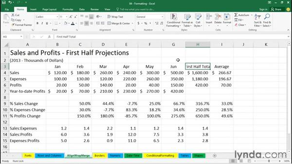 Working with alignment and Wrap Text: Office 365: Excel Essential Training
