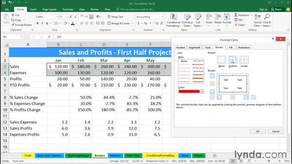 Designing borders: Office 365: Excel Essential Training