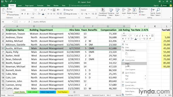 Inserting and deleting rows and columns: Office 365: Excel Essential Training