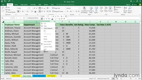 Hiding and unhiding rows and columns: Office 365: Excel Essential Training
