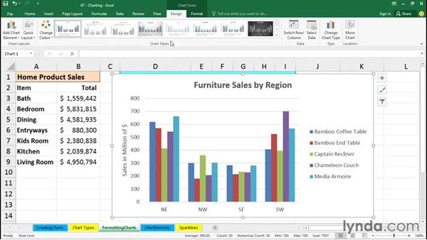 Formatting charts: Office 365: Excel Essential Training