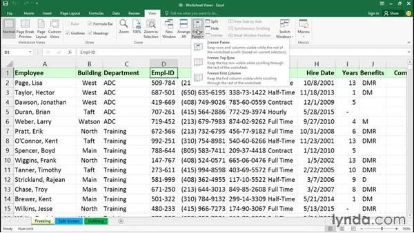 Freezing and unfreezing panes: Office 365: Excel Essential Training
