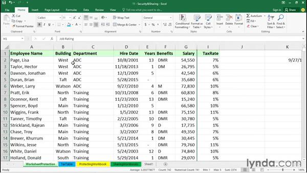 Unlocking cells and protecting worksheets: Office 365: Excel Essential Training