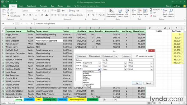 Sorting data: Office 365: Excel Essential Training