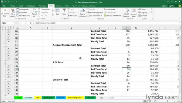 Inserting subtotals in a sorted list: Office 365: Excel Essential Training