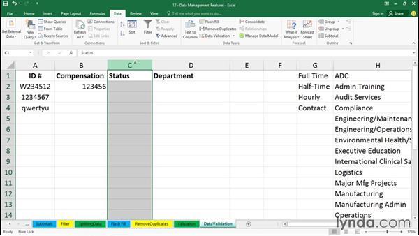 Using validation tools: Office 365: Excel Essential Training