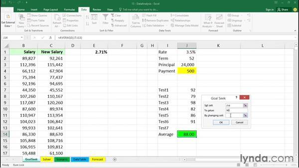 Using Goal Seek: Office 365: Excel Essential Training