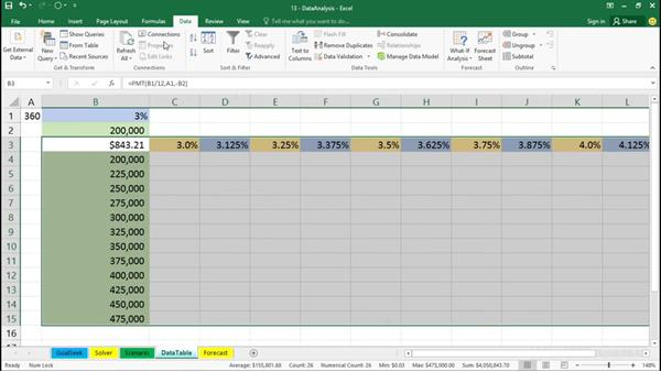 Using data tables: Office 365: Excel Essential Training