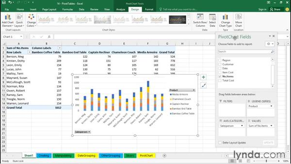 Using PivotCharts: Office 365: Excel Essential Training