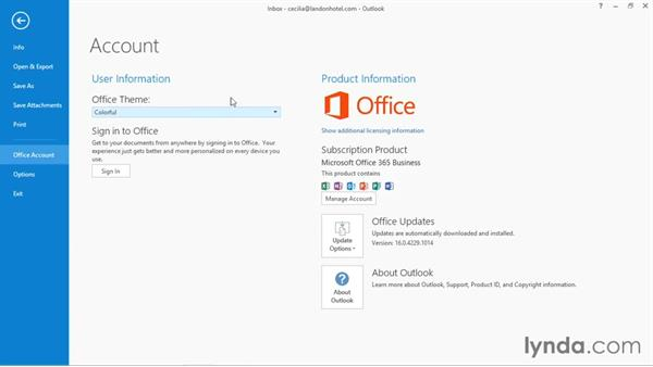 Connecting to a OneDrive account: Office 365: Outlook Essential Training