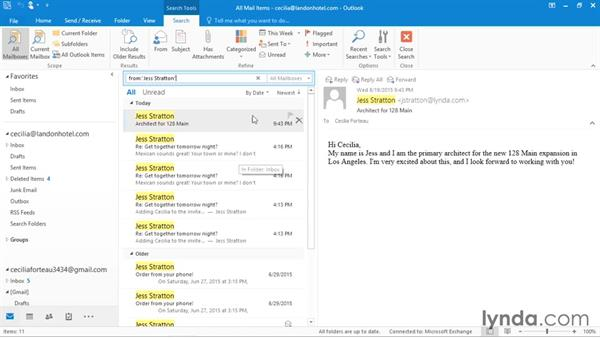 Using filters and the People pane: Office 365: Outlook Essential Training