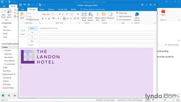 Creating personal stationery: Office 365: Outlook Essential Training