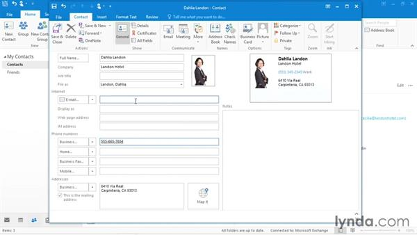 Creating a new contact: Office 365: Outlook Essential Training