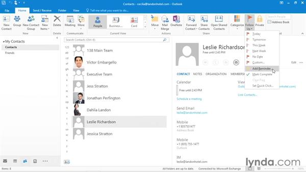 Working with contacts: Office 365: Outlook Essential Training