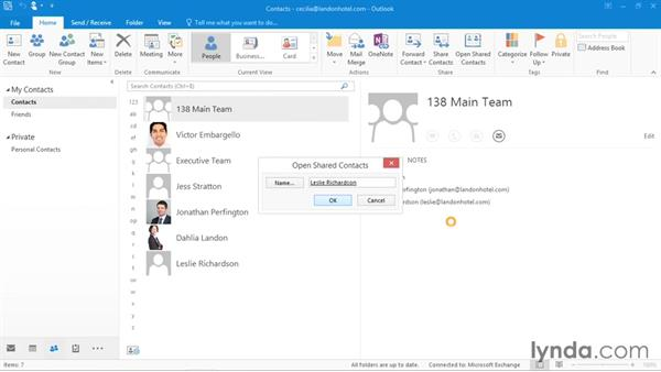 Sharing contact data with others: Office 365: Outlook Essential Training