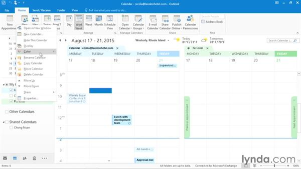 Creating additional calendars: Office 365: Outlook Essential Training