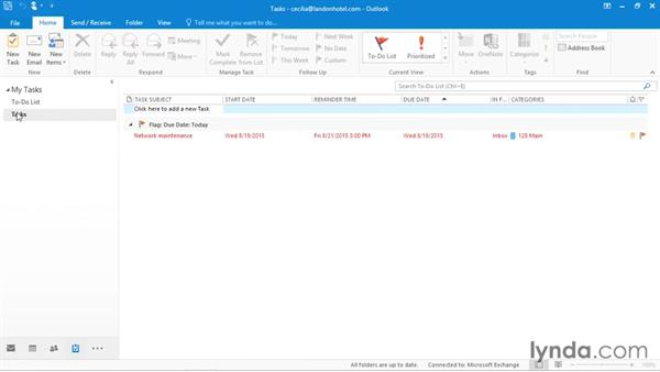 Navigating tasks: Office 365: Outlook Essential Training