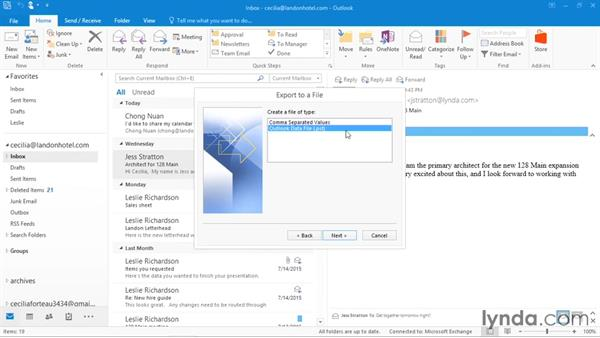 Backing up or moving Outlook: Office 365: Outlook Essential Training