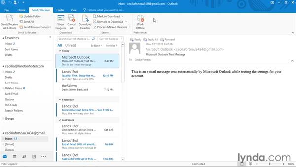 Sending or receiving email manually: Outlook 2016 Essential Training