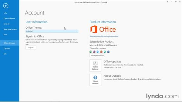 Connecting to a OneDrive account: Outlook 2016 Essential Training