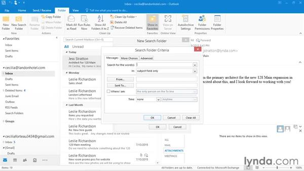 Creating search folders: Outlook 2016 Essential Training