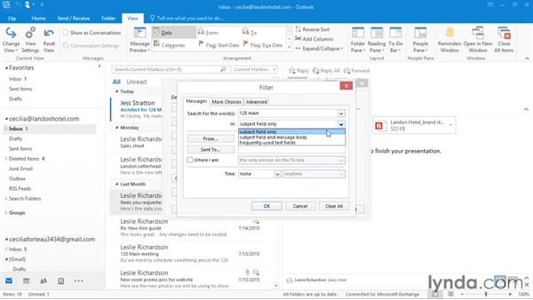 Using conditional formatting to change font and color: Outlook 2016 Essential Training