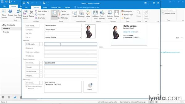 Creating a new contact: Outlook 2016 Essential Training