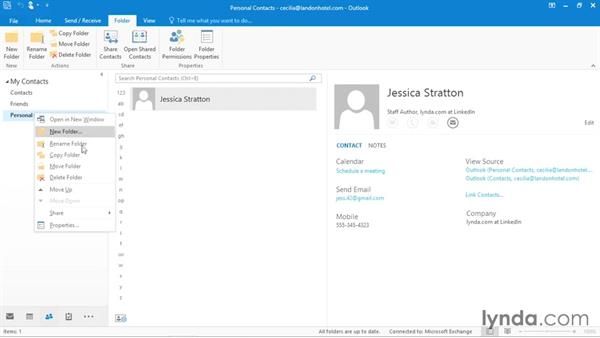 Moving contacts into folders: Outlook 2016 Essential Training
