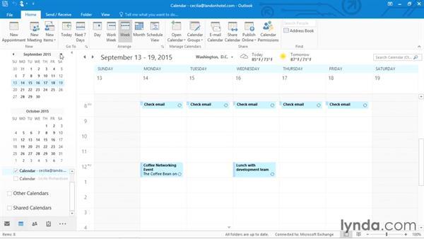 Navigating the calendar: Outlook 2016 Essential Training