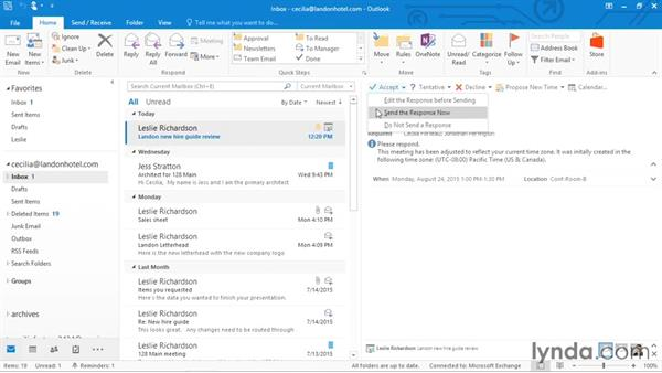 Responding to a meeting invitation: Outlook 2016 Essential Training