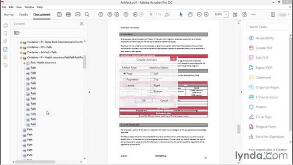 Artifacting table elements: Advanced Accessible PDFs