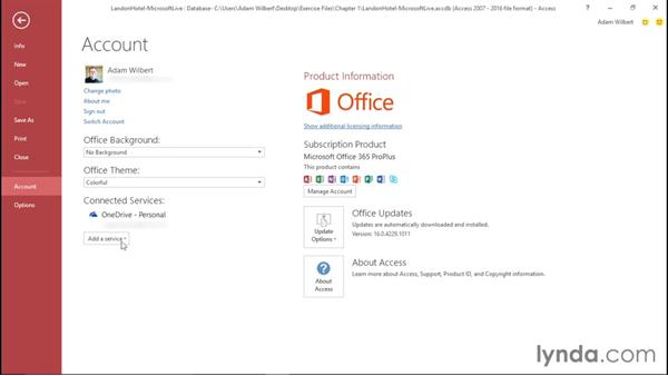 Signing in to a Microsoft account: Office 365: Access Essential Training