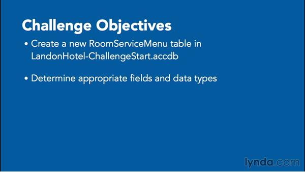 Challenge: Creating tables: Office 365: Access Essential Training