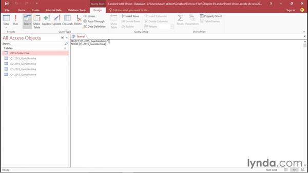 Creating a union query in SQL view: Office 365: Access Essential Training