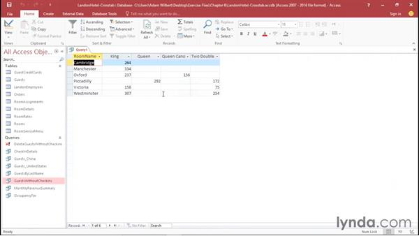 Getting a different look with crosstab queries: Office 365: Access Essential Training