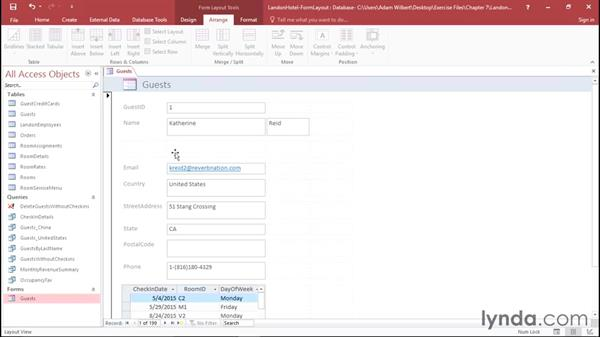 Adjusting form elements in Layout view: Office 365: Access Essential Training