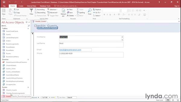 Using the Form Wizard: Office 365: Access Essential Training