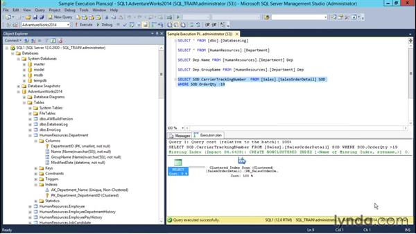 Viewing execution plans: Installing and Administering Microsoft SQL Server 2014