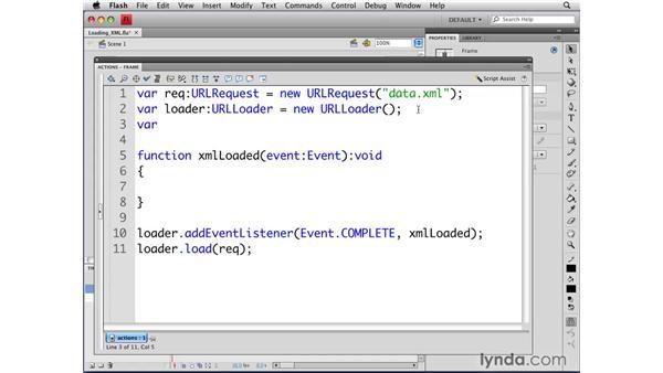 Loading an external XML file: Flash CS4 Professional: Object-Oriented Programming