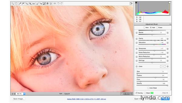 Brightening eyes: Exploring Adobe Camera Raw: Making Selective Adjustments