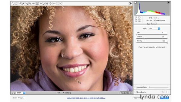 Retouching away skin blemishes: Exploring Adobe Camera Raw: Making Selective Adjustments