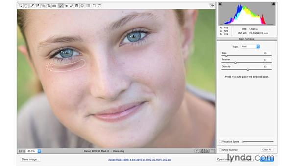 Retouching away shadows under the eyes: Exploring Adobe Camera Raw: Making Selective Adjustments