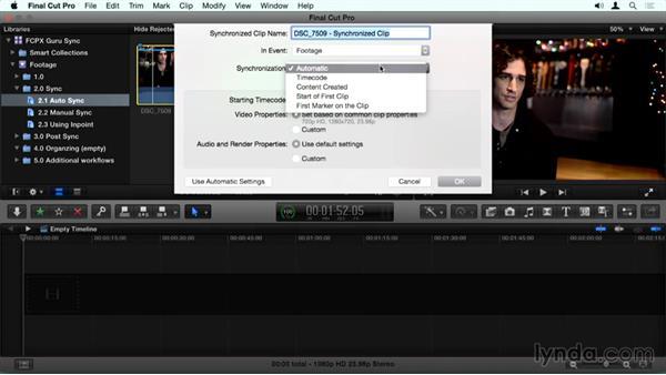 Syncing clips based on audio: Final Cut Pro X Guru: Sync Sound Workflow