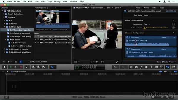 Picking the right audio in the Inspector: Final Cut Pro X Guru: Sync Sound Workflow